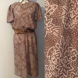 Vintage 70's 80's Taupe Floral Blouson Dress
